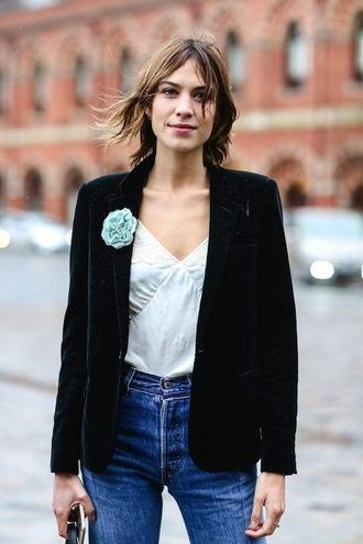 le fashion image blogger jeans camisole lace top silk flowers velvet blazer black blazer alexa chung