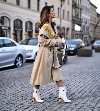 coat camel coat camel boots white boots trench coat