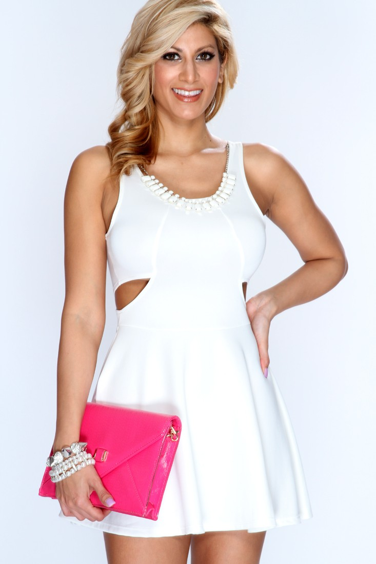 White Cutout Sides A-Line Party Dress