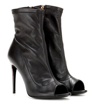 leather ankle boots open boots ankle boots leather black shoes