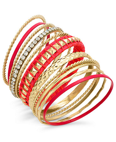 Bar III Gold-Tone Coral Mixed Bangle Bracelet Set - Fashion Jewelry - Jewelry & Watches - Macy's