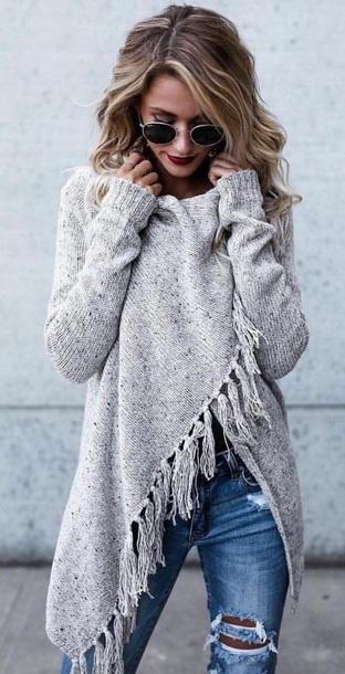 sweater grey fringes shirt grey sweater