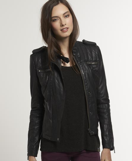 Superdry Shrunken Biker Jacket - Women's Leathers