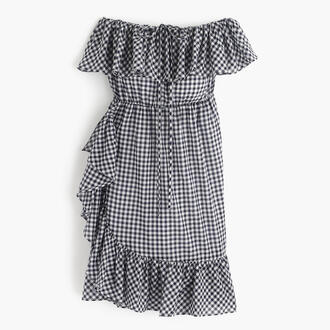 dress gingham summer dress ruffle dress off the shoulder dress patterned dress j crew