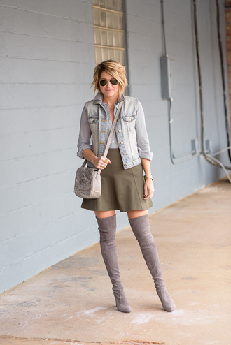 style archives - seersucker and saddles blogger shoes skirt denim jacket green skirt knee high boots shoulder bag aviator sunglasses grey top nordstrom bag jacket blue jacket denim grey bag over the knee boots over the knee high heels boots grey boots sunglasses bracelets