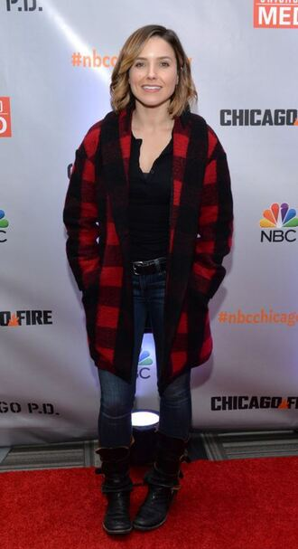 jacket jeans fall outfits boots sophia bush shoes