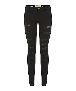 Parisian black multi ripped skinny jeans