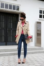 coat,sunglasses,tumblr,trench coat,camel,camel coat,top,red top,stripes,striped top,denim,jeans,blue jeans,skinny jeans,pumps,high heel pumps,black bag,bag,french girl style