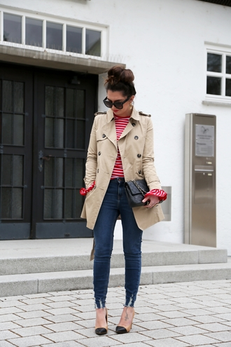 coat sunglasses tumblr trench coat camel camel coat top red top stripes striped top denim jeans blue jeans skinny jeans pumps high heel pumps black bag bag french girl style