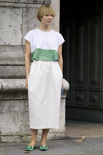 top skirt flats paris fashion week 2016 streetstyle crop tops