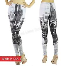 Women NY New York Black White Graphic Print Stretchy Leggings Tights Pants USA