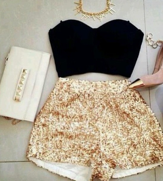 shorts gold shorts in love
