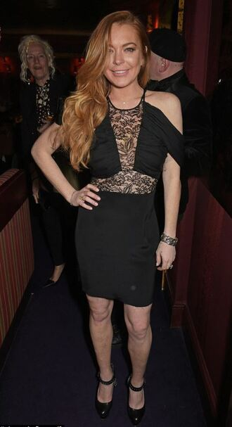 dress black dress lindsay lohan lace pumps party dress