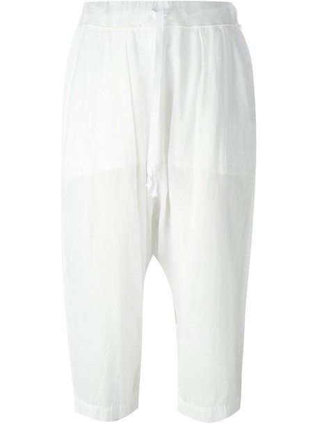 0d1669e1f471a8 Lost & Found Rooms sheer cropped trousers in white - Wheretoget