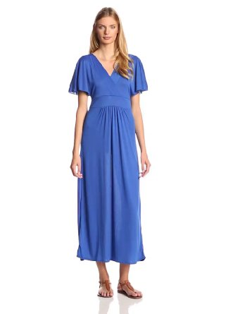 Star vixen women's short sleeve surplice flutter sleeve maxi dress