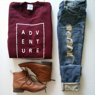 jeans boyfriend jeans boots shoes jacket sweater t-shirt burgundy graphic tee print adventure fall outfits box letters marroon shirt red