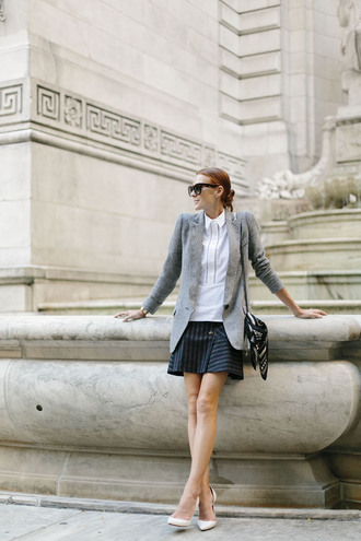 could i have that blogger jacket blouse skirt bag scarf shoes jewels