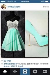 dress,aqua blue,green dress,silver sequin dress,short prom dress,flowy,flowy dress,shoes,teal,teal heels,silver shoes,silver glitter,bow heels