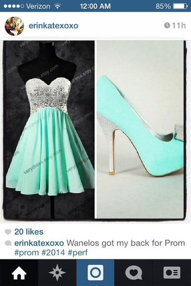 dress aqua blue green dress silver sequin dress short prom dress flowy flowy dress shoes teal teal heels silver high heels silver glitter heels with bows