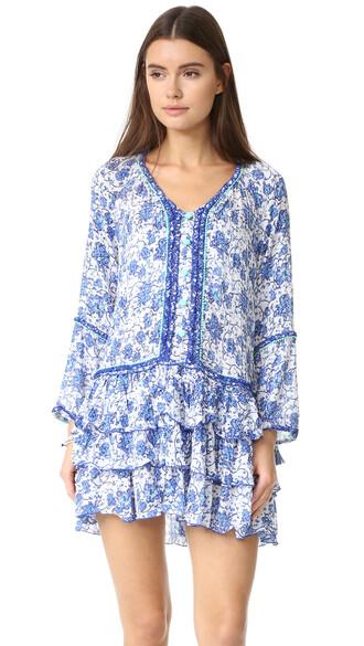 dress mini dress boho mini blue