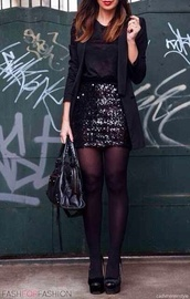 skirt,sequins,black,black skirt,sequin skirt,jacket,spakley,glitter skirt,new years eve outfit,black sparkly skirt,dress,black sequin mini skirt,longline blazer