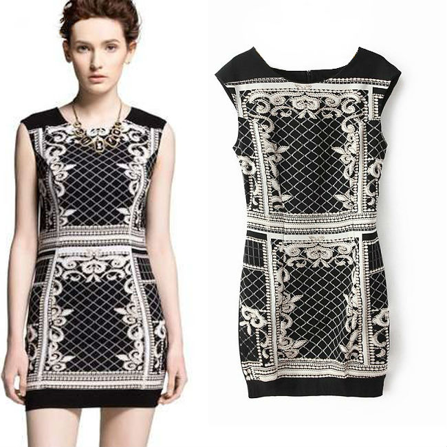 2014 spring and summer new personality vintage printing elastic slim one-piece dress fashion women's | Amazing Shoes UK