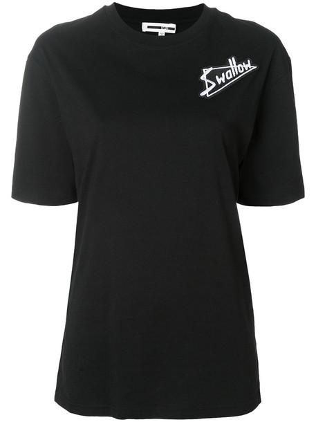 t-shirt shirt t-shirt embroidered women cotton black top