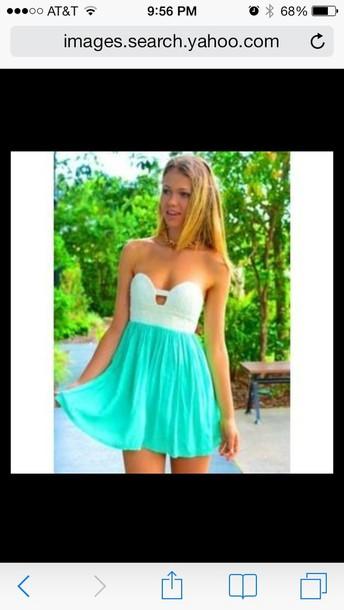 dress mint sweet heart cut out neckline dress