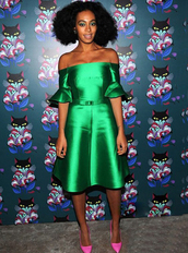 dress,bqueen,fashion,girl,green,cute,stars,party,eventing dress,event,chic,elegant,off -shoulder,trumpet,trumpet sleeves