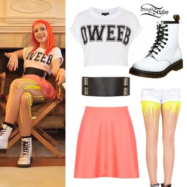shirt haley dweeb t-shirt belt skirt pants underwear paramore pink haley williams still into you