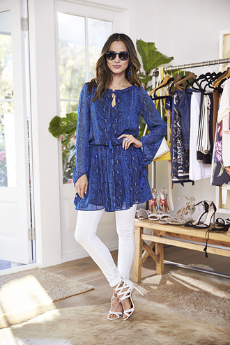 pants jeans jamie chung sandals blue blue dress snake print sunglasses blogger tunic dress
