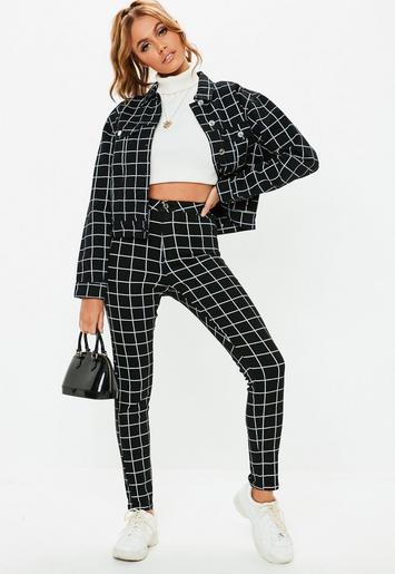 Missguided - Black Denim Vice Grid Print Skinny Jeans