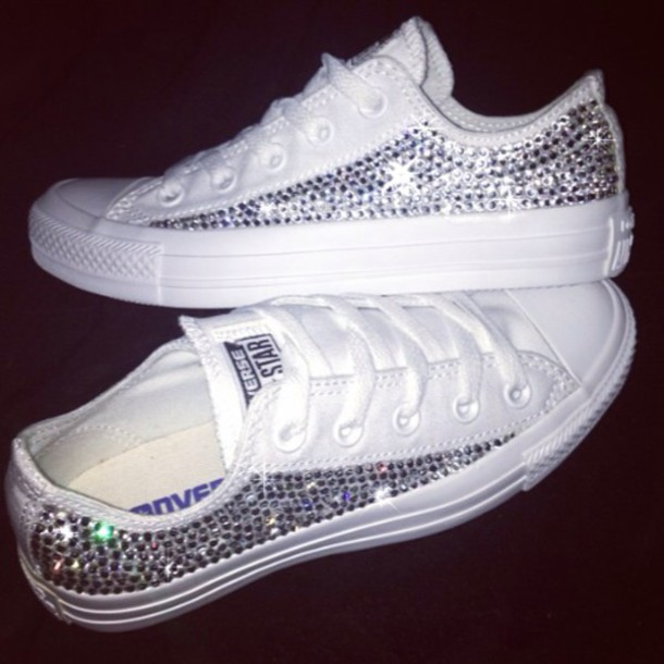 8defef6ca15 swarovski crystal converse white mono, shoes - Wheretoget