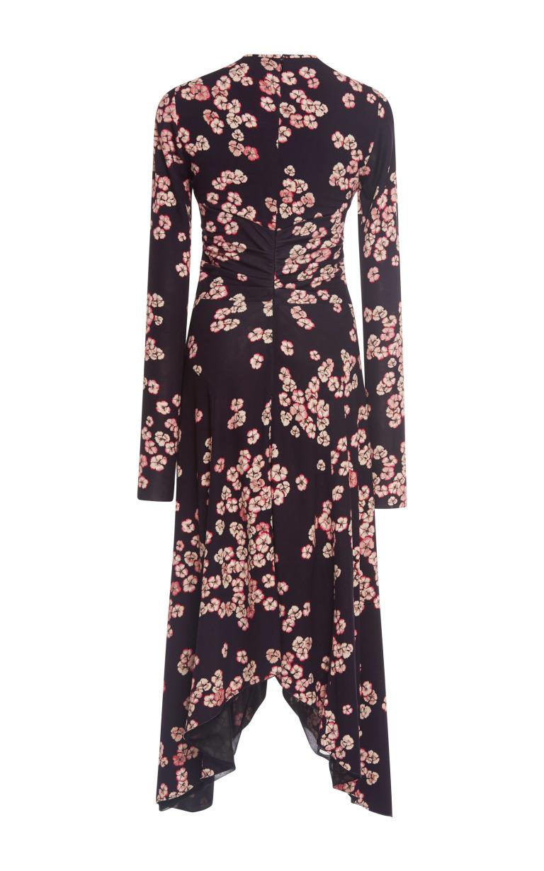 Selena Gomez Asymmetric Blossom Print Dress in London