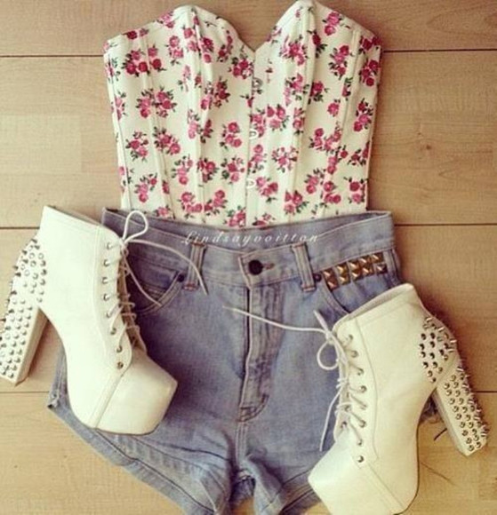 shoes high heels spikes spiked shoes red floral crop top white high heels white shorts floral laces gold shirt flowers