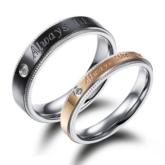 engraved black and gold wedding bands for men and women personalized couples gifts his her necklaces - Engraved Wedding Rings