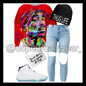 sweater red sweater tupac sweatshirt hat