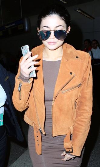 jacket kylie jenner orange jacket perfecto suede jacket brown jacket