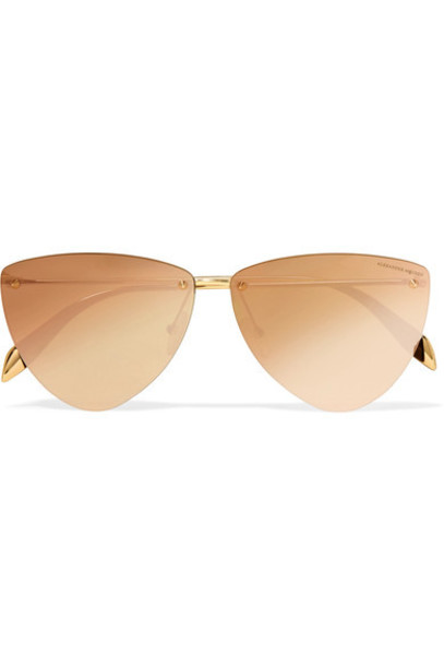 Alexander Mcqueen style rose gold rose sunglasses mirrored sunglasses gold