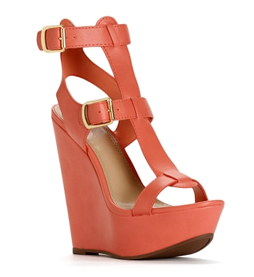 Soft Peach Gladiator Wedges