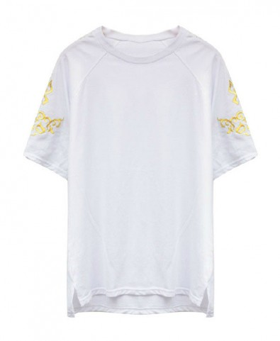 White T-shirt with Golden Stitched Print and Split High Low Hem