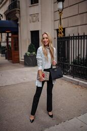 katie's bliss - a personal style blog based in nyc,blogger,pants,sweater,cardigan,shoes,bag,jewels,make-up