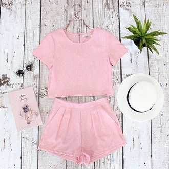 romper shorts shirt top pink crop tops two-piece pastel weheartit short outfit matching set dress shorts two piece crop top set set top and shorts set fedora skirt blouse hat peach nude cute
