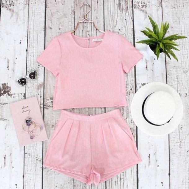 e487021d1c romper shorts shirt top pink crop tops two-piece pastel weheartit short  outfit matching set