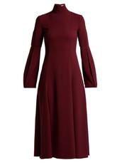 dress,midi dress,high,midi,burgundy