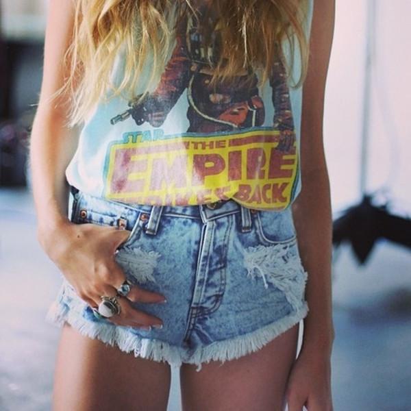 shirt star wars tank top shorts blouse grey tank top star wars t-shirt tumblr girl hipster