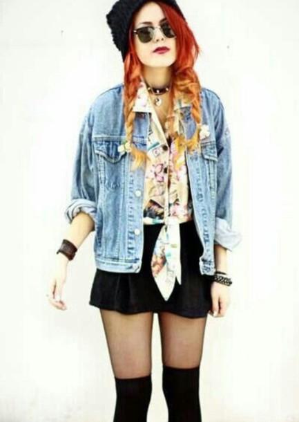 399d019d9a6 jacket grunge denim jacket denim shirt soft grunge outfit skirt tights ...