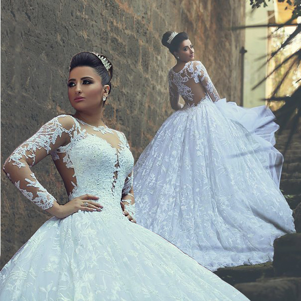 3bf11db5d47a7 Aliexpress.com : Buy Gorgeous Gelinlik Lace Wedding Dress Long Sleeve High  Neck Pincess Ball Gowns White vestido novia Wedding Gowns from Reliable  gowns for ...