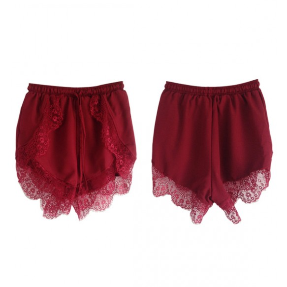 Drawstring Running Shorts With Lace Hem