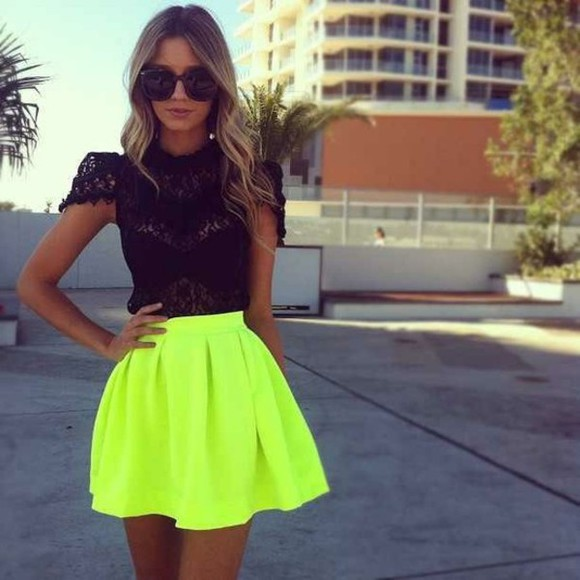 skirt neon skirt neon shirt t-shirt sunglasses top neon green skater skirt black lace top black lace blouse yellow beautiful dress